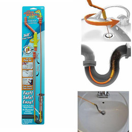 Sewer Drain Pipe NZ - Magic Drain Weasel Hair Clog Tool Sink Drian Wand Cleaner Easy Spin Kitchen Bathroom Water Pipe Sewer Hair Catcher Remover Hook AAA1337