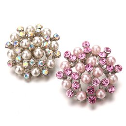 Noosa Chunk Jewelry Wholesale Australia - New Snap Jewelry Rhinestone Flowers Metal Snap Buttons Fit Snap Bracelet Bangles DIY Noosa Chunks