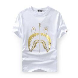 Wholesale justin bieber gold resale online – New Men s Wear Ape Tshirts Gold Shark Head Printed Short Sleeved T shirts Justin Bieber Men Women s T shirt Fear of God Cheap Sale