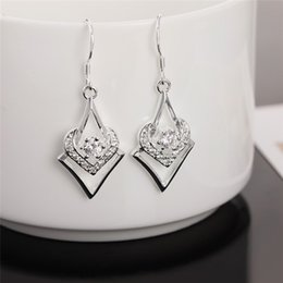 $enCountryForm.capitalKeyWord NZ - New Popular 925 Silver Jewelry Cute Heart Shaped inlay Crystal DangleEarrings For Women Fashion Girl Jewelry Party Gifts Sale