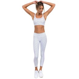 white stitched leggings 2019 - Women Striped Mesh Stitching Yoga Pants Leggings Sweatpants High Waist Sports Yoga Running Fitness Pants Athletic Trouse