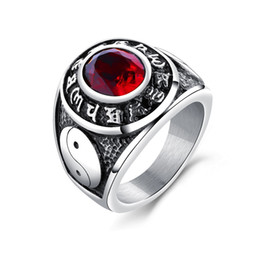 $enCountryForm.capitalKeyWord Canada - Black Red White Color Fashion Simple Men's Six Words Gemstone Rings Stainless Steel Ring Jewelry Gift for Men Boys 661