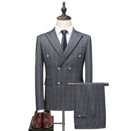 Chinese  MarKyi fashion double breasted mens gray suits plus size 5xl plaid suits for men wedding costume mariage homme manufacturers