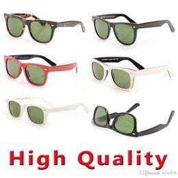 Sun Glasses Black Australia - Free EMS Mens Sunglasses Green Lens glasses High Quality Plank black Sunglasses glass Lens Sun glasses New Brand Designer glasses With Boxs