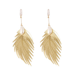 Network Metals Australia - Network prevails in Europe and the United States temperament simple long Style Fashion Pendant personality metal feather earrings pearl 100