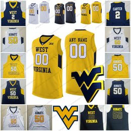 912e4f481 Custom West Virginia Mountaineers NCAA Basketball Jerseys Any Name Number   50 Sagaba Konate 2 Jevon Carter white yellow navy blue S-3XL