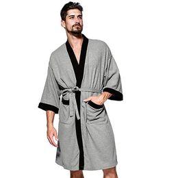 a58c740472 Men s Waffle-Weave Kimono Robe Cotton Spa Bathrobe Lightweight Soft Knee  Length Sleepwear