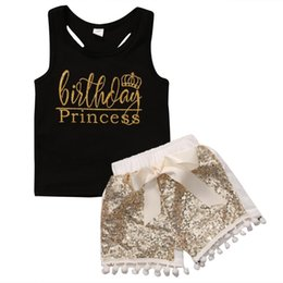 ss t shirts NZ - 2018 Toddler Baby Kids Girl Clothes Sleeveless Birthday Princess Tank T-shirts+Sequin Pants 2PCS Bow Outfit Summer Set SS