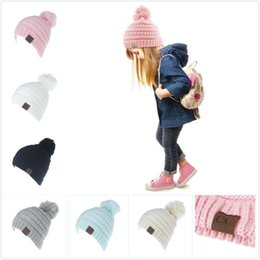 BaBy jersey knit online shopping - Fashion Hot Dome Short breasted Children s Baby Needlework CC Cap Hair Ball Hoops Jersey Knit Wool Hats Used in Autumn and Winter