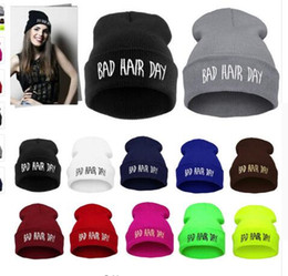back hair men UK - Winter Unisex Men Women's Hats Bad Hair Day Letter Print Snap Back Beanie bonnet femme gorro Knit Hip Hop Punk Hat Cap