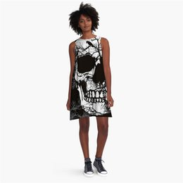 $enCountryForm.capitalKeyWord UK - Wholesale Free Shipping Hot Sale Summer Women 3D Printed Skull White Black Flag O-neck Sleeveless A-Line Sexy Dress