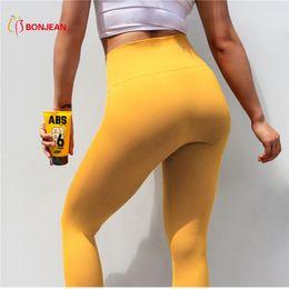 011fe13f34dff Yellow High Waist Yoga Pants Gym Sport Pants For Women Push Up Fitness  Sport Leggings Tights Sportswear Dance Trousers Hot Sale