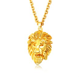 gold chain necklace lion pendant UK - Punk Rock Men Pendant Necklace Lion head Design Gold Color Copper Animal Necklace 610mm Length Party Jewelry For Men