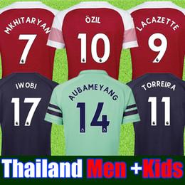 e8f0bbf82 Thailand Arsenal soccer jersey 2018 2019 AUBAMEYANG OZIL JERSEY 18 19  LACAZETTE TORREIRA football kit Top MEN and KIDS SET soccer shirt
