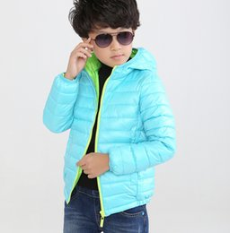 Discount year old boy jacket - Retail New Boys Down Jacket Kids Winter Casual Hooded Thick Coats Children Warm Solid Striped Outerwear For 4-8 Years ol