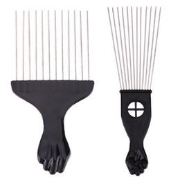 $enCountryForm.capitalKeyWord NZ - Salon Use Black Metal African American Pick Comb Hair Combs Afro Hair Comb For Hairdressing Styling Tool