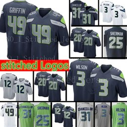 3708acb32 New Seattle Seahawks Jersey Men s  3 Russell Wilson 49 Shaquem Griffin 31  Kam Chancellor 12th Fan 25 Richard Sherman Football Jerseys