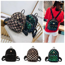 CheCkered baCkpaCks online shopping - Sequin Checkered Mini Backpacks Colors Sequins Travel Satchel School Bag BlingBling Teenager Girls Backpack Storage Bags OOA5417
