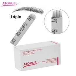 Discount pcd needles - 100Pcs Set PCD 14 Pin Double Arc U Permanent Microblading Needles Makeup Eyebrow Tattoo Blade For 3D Embroidery Manual P