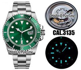2018 Top nV9 Best Edition Swiss Cal.3135 ETA 3135 Movimiento automático Cerámica verde Bisel Dial verde Reloj para hombre Azul Luminoso 904L Acero en venta