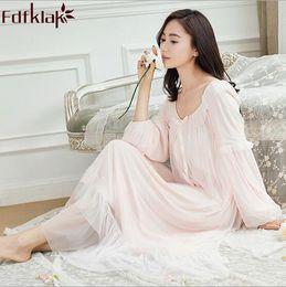 Long White Cotton Nightdress Canada - Long Cotton Nightdress Women s  Nightgown Spring Autumn Long Sleeve Sexy 6a593d2db