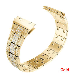 rhinestone bands for watch UK - New Replacement Crystal Rhinestone Diamond Watch Bands metal Stainless Steel wrist Bracelet Strap for Fitbit ionic Watch Bands
