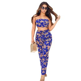 $enCountryForm.capitalKeyWord UK - New Sexy Two Pieces Sets Women Crop Top Long Pants Suits Off the Shoulder Leaves Print Backless Belt Summer Clothes Sets Women