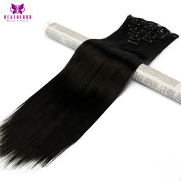clip heat resistant hair extensions 2019 - Neverland #1B Black 7pcs set 16Clips Full Head 60cm Straight Synthetic Hairpieces Heat Resistant Fiber Clip In Hair Exte