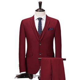 elegant wine 2019 - 2018 Wine Red Men Suit 2 Pieces Jacket+Pants Wedding Suits For Mens Grooms Elegant discount elegant wine