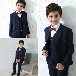 Discount boys suits wedding gold - New Arrival Navy Boy Formal Wear Two Botton Custom MadeTie Pants Vests Wedding Evening Party Tuexdos Suits