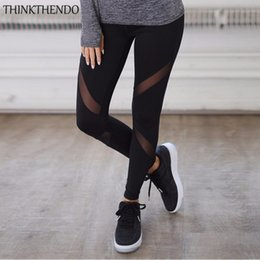 mesh yoga pants Canada - THINKTHENDO Black Mesh Patchwork Yoga Pants Leggins Fitness Trousers Sports Leggings Gym Sportswear Running Tights Athletic Pant