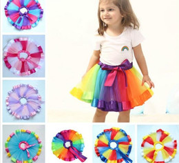 rainbow pettiskirt NZ - 20pcs Girls Kids Rainbow Party Ballet Dance Tutu Skirt Tulle Dress Pettiskirt Tutu Dance Wear Skirts Ballet Pettiskirts Dance Skirt Y168