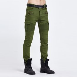 green motorcycle pants UK - Army Green Biker Jeans Men Skinny Cargo Jeans with Side Pockets 2017 Mens Denim Pants Casual Slim Fit Zipper Motorcycle Jeans Homme
