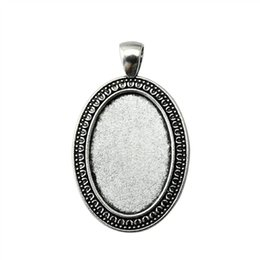 Wholesale Pendant Sets NZ - 9 Pieces Cabochon Cameo Base Tray Bezel Blank Accessories Parts Simple Single Side Side-On Inner Size 20x30mm Oval Necklace Pendant Setting