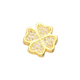 Micro Pave Connectors UK - Wholesale Handmade DIY Jewelry Accessories Fashion Clover Flower Beads Charms Bracelets Fit Micro Pave Loose Beads Rhinestone Baed Connector