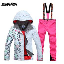 $enCountryForm.capitalKeyWord Australia - GSOU SNOW Women's Double Single Board Ski Suit Outdoor Thick Warm Sport Breathable Waterproof Ski Jacket Pants Size XS-L