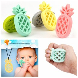 Safe toyS for babieS online shopping - Pineapple Silicone Teether Babies Molar Training Pendant Nursing Soft Beads Safe Toys For Soothe Teething Baby DDA477