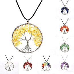 $enCountryForm.capitalKeyWord UK - Creative Natural Gravel Tree of Life Necklace Handmade Crystal Pendant Sweater Chain 7 Chakra Natural Stone Necklaces 16 Styles