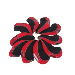 Golf club iron headcovers online shopping - Set of Red Neoprene Golf Club Head Cover Wedge Iron Protective Headcovers