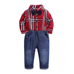 China Toddler Boys Clothing Set Gentleman Suit Kids Red Bow Tie Plaid Shirt+Straps Jeans Pant Children Autumn Outfits suppliers
