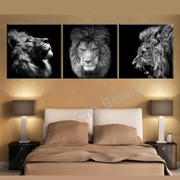 Discount art lion king - 3 Panels Lion king canvas art modern abstract painting wall pictures for living room decoration pictures canvas print no