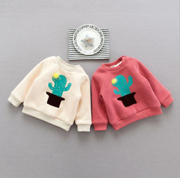 04a65d19 INS 2 colors cute NEW style baby girl boy cartoon cactus print round collar long  sleeve With double velvet hoodie thickening autumn T-shirt