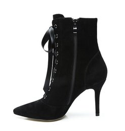 $enCountryForm.capitalKeyWord UK - Luxury Suede Leather Side Zip Lace-Up Ankle Boots Elegant Women Shoes Pointed Toe High Heels Size 10 Hot Selling Stiletto For Sexy Ladies