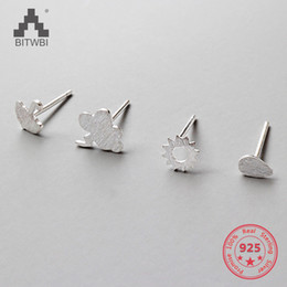 $enCountryForm.capitalKeyWord NZ - 925 Sterling Silver Cute Stud Earrings 4 in 1 set Personality Lightning Clouds Sunny Raindrops Umbrella Jewelry Girl