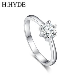 Wholesale H HYDE Fashion bride jewelry silver Color Multi color Cubic Zirconia Wedding Rings for women lady bague size