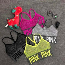 Ladies Cropped Yoga Tops NZ - Sexy Women Yoga Vest Shakeproof Running Sport Bras Padded Letter PINK Yoga Bra Tops Seamless Fitness Underwear Lady Crop Tops