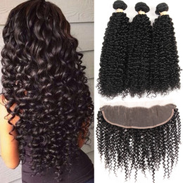 curly peruvian hair bundles closures 2019 - Malaysian Hair Kinky Curly 3 Bundles with Pre Plucked Lace Frontal Closure 13*4 Lace Frontal With Bundles Natural Color