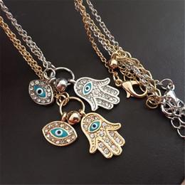 $enCountryForm.capitalKeyWord NZ - Blue Evil Eye Hamsa Fatima Palm Necklace lucky Turkish Kabbalah hand pendants for women best friend best friend fashion jewelry 161222