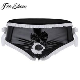 $enCountryForm.capitalKeyWord NZ - Hot Male Lingerie Shiny Open Front Penis Ring Sissy Underwear Crotch Zipper Bow-knot Fetish Costume Sissy Bikini Gay Underwear