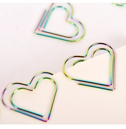 $enCountryForm.capitalKeyWord NZ - NEW 26*22MM Paper Clips bookmark in Blister cute Heart Shaped Card Office supply rainbow silver tone cheap wholsale